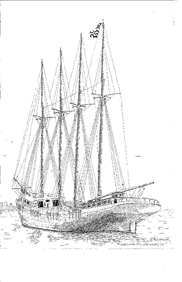 The Last Wooden Ship Drawing By L D Williams