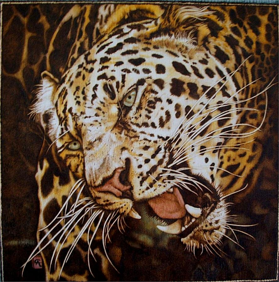 Color  Pyrography Painting - The Leopards Hello by Cynthia Adams