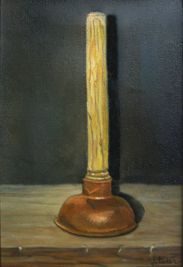 Toilet Plunger Painting - The Lone Plunger by Donna Tucker