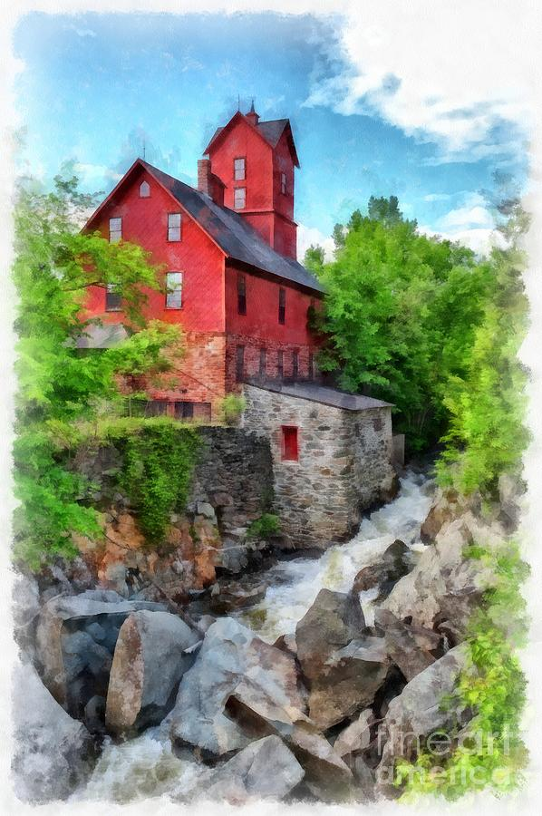 Mill Photograph - The Old Red Mill Jericho Vermont by Edward Fielding