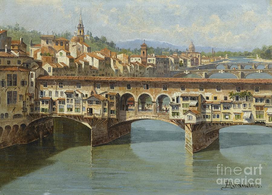 The Ponte Vecchio Painting - The Ponte Vecchio Florence 2 by Celestial Images
