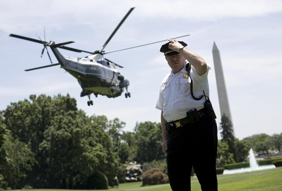 Barack Obama Photograph - Marine One by JP Tripp