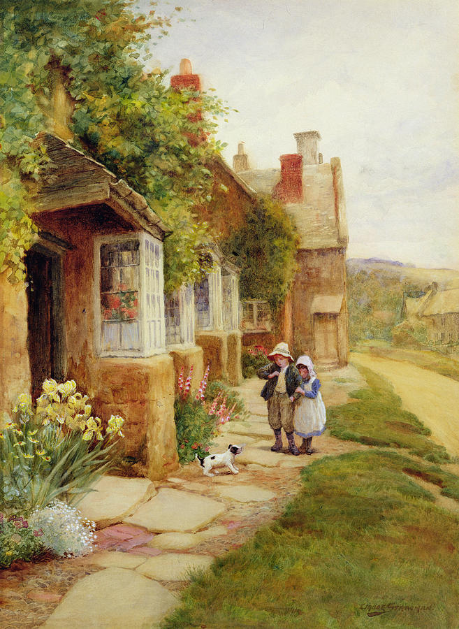 Village Painting - The Puppy by Arthur Claude Strachan
