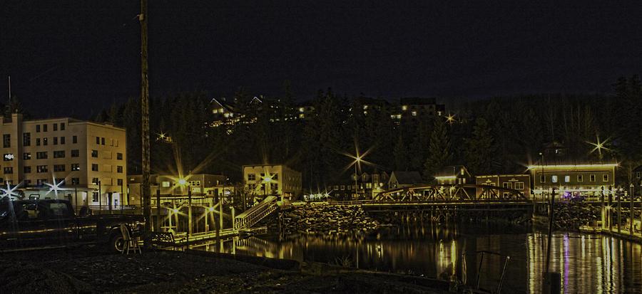 Night Photograph - The Red Bridge by Timothy Latta