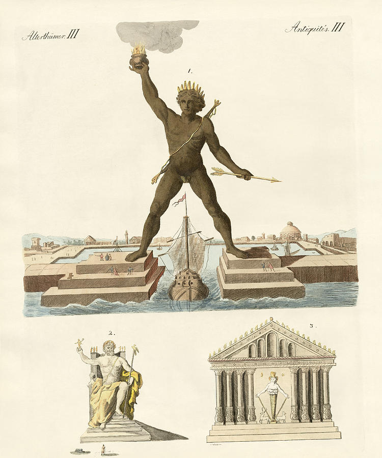 The Colossus Of Rhodes Drawing - The Seven Wonders Of The World by Splendid Art Prints