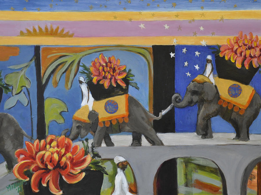 The Sky is Falling on Elephants Carrying Chrysanthemums by Melanie Lewis