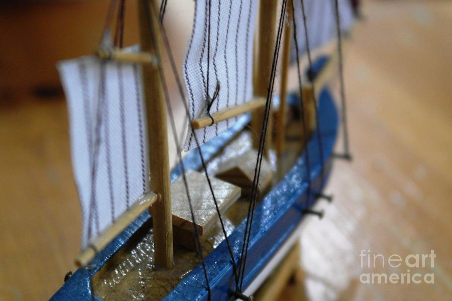Wooden Photograph - The Small Ship by Aqil Jannaty