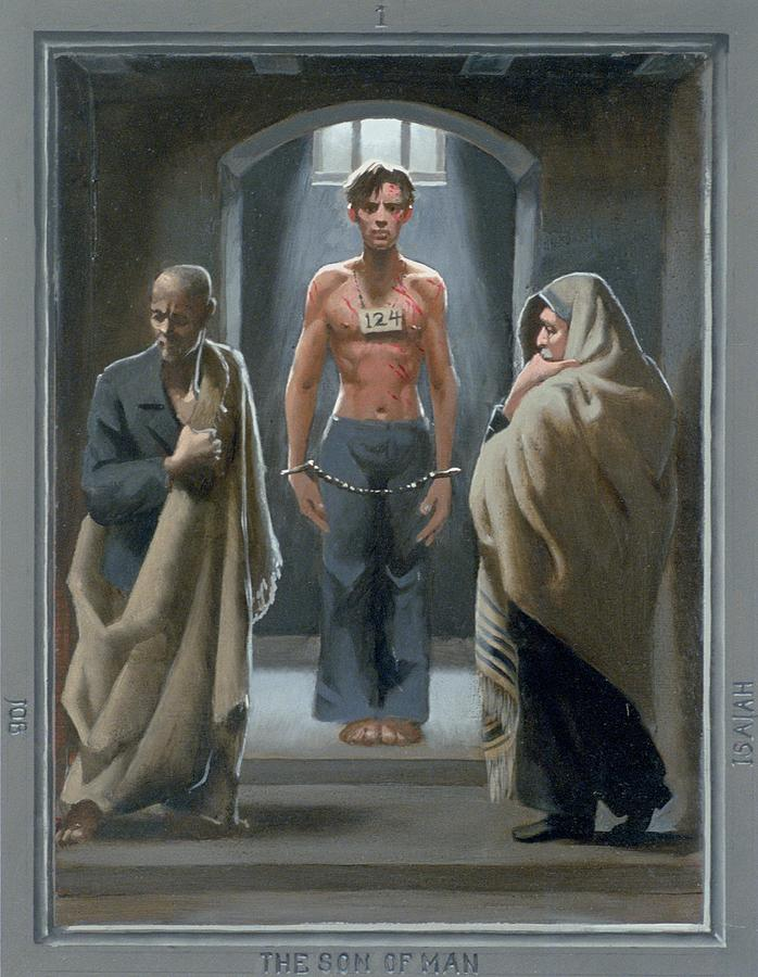 Jesus Painting - 1. The Son of Man with Job and Isaiah / from The Passion of Christ - A Gay Vision by Doug Blanchard