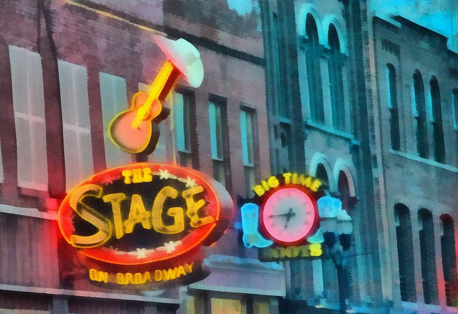 Nashville Tennessee Painting - The Stage On Broadway by Dan Sproul