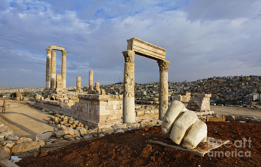 Amman Photograph - The Temple Of Hercules And Sculpture Of A Hand In The Citadel Amman Jordan by Robert Preston