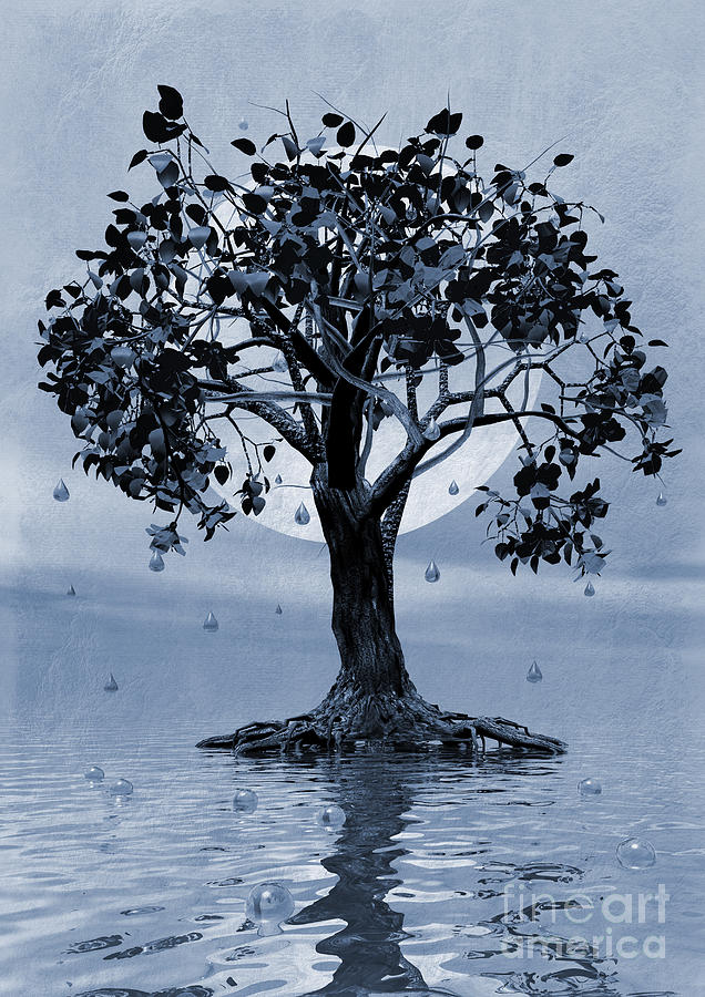 Weeping Tree Painting - The Tree That Wept A Lake Of Tears by John Edwards