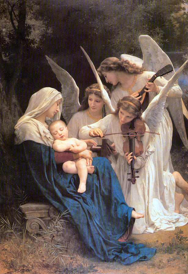The Virgin With Angels Digital Art - The Virgin With Angels by William Bouguereau