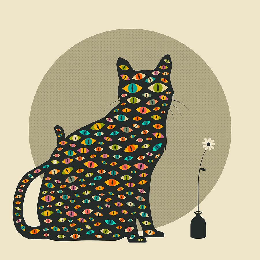 Cat Digital Art - The Watcher by Jazzberry Blue