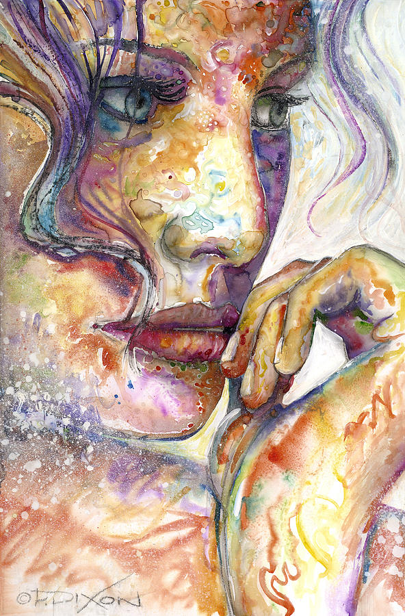 Beautiful Woman Painting - Thoughts by Frank Robert Dixon