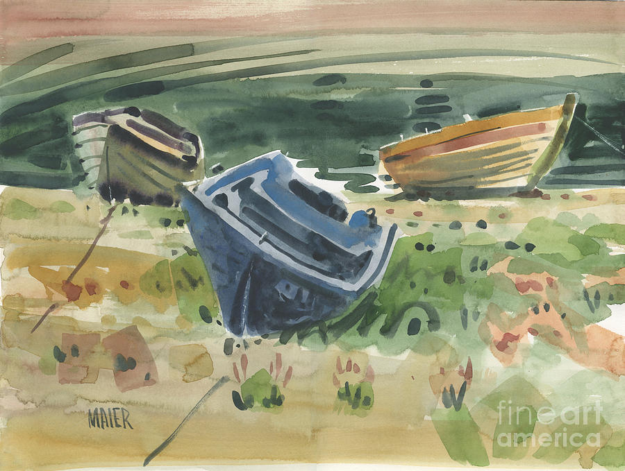 Boats Painting - Three Boats by Donald Maier