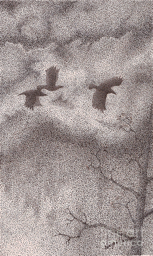 Crows Drawing - Three Crows by Wayne Hardee