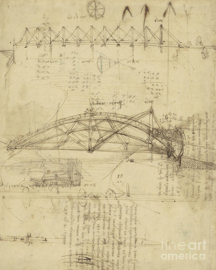 Leonardo Drawing - Three Kinds Of Movable Bridge by Leonardo Da Vinci