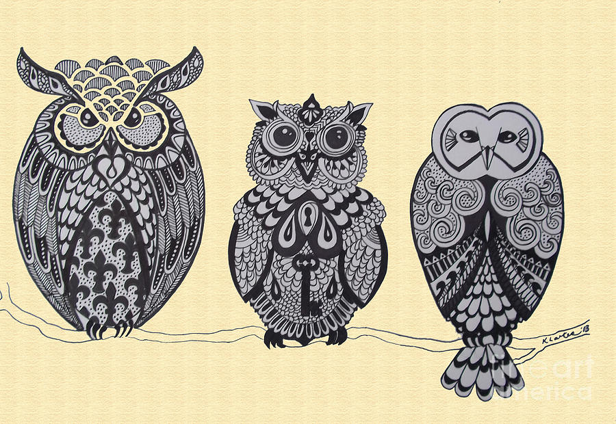 Owls Drawing - Three Owls On A Branch by Karen Larter