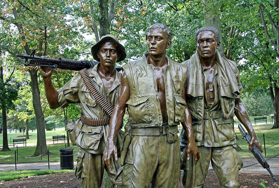 Three Photograph - Three Soldiers Statue by Cora Wandel
