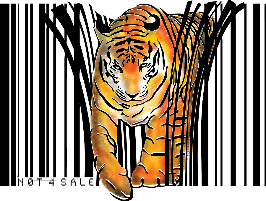 Tiger Digital Art - Tiger barcode by Sassan Filsoof