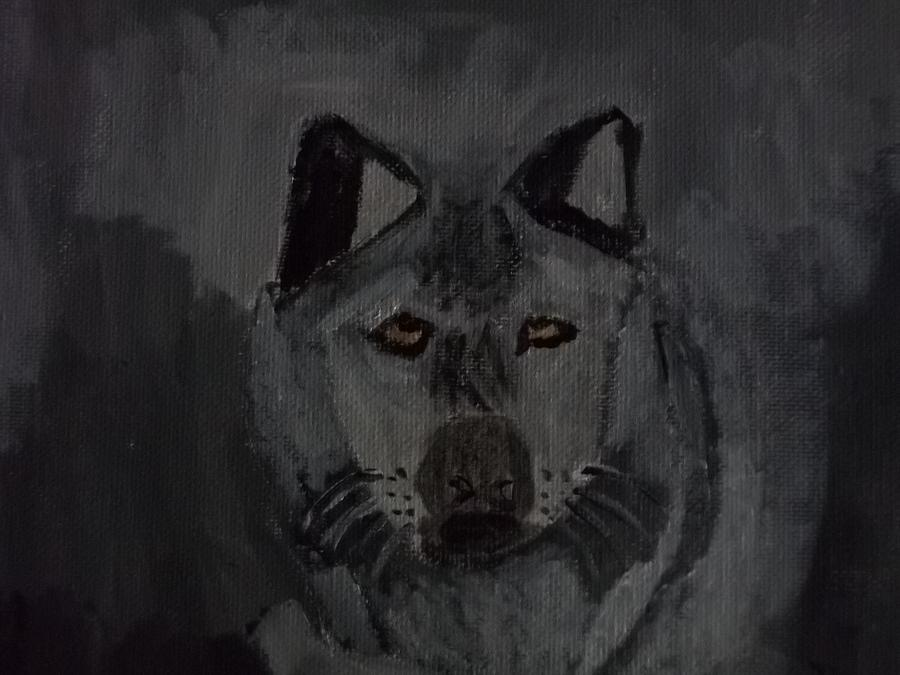 Timber Wolf Painting - Timber Wolf Acrylic Painting by William Sahir House