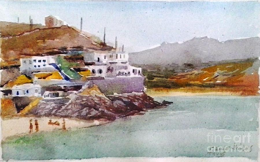 Tinos.tinos Greek Island.greek Islands.tinos Island.watercolors.watercolors On Canvas Painting - Tinos by George Siaba