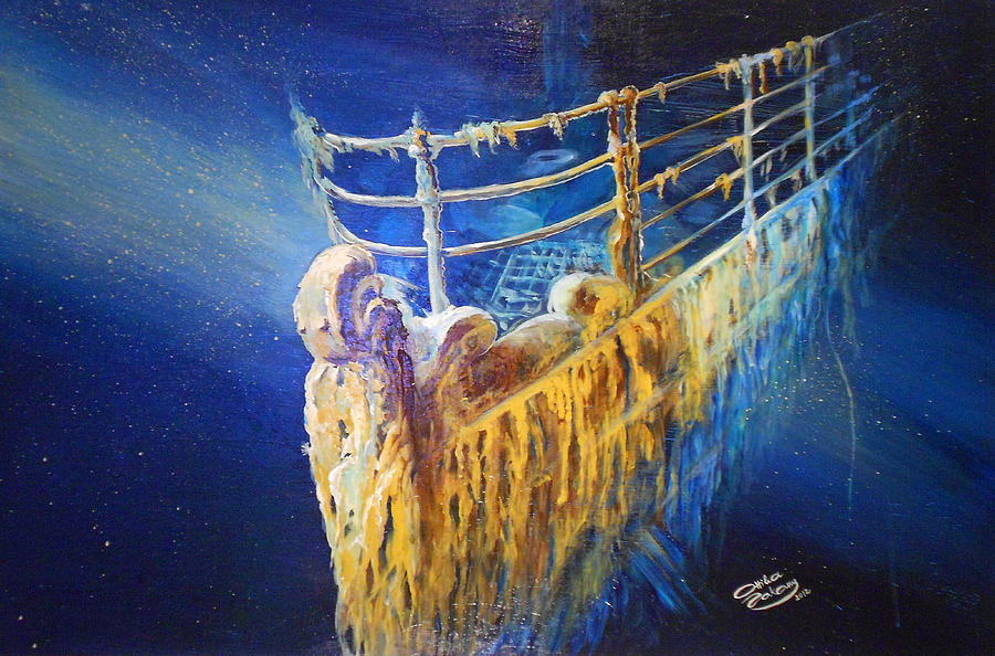 Water Painting - Titanic In The Deep Mist by Ottilia Zakany