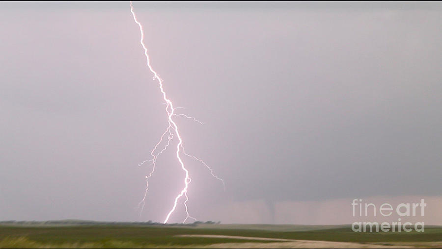 Severe Weather Photograph - Tornado and Lightning by Francis Lavigne-Theriault