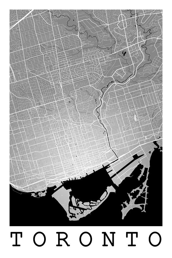 Road map digital art toronto street map toronto canada road map art on colored
