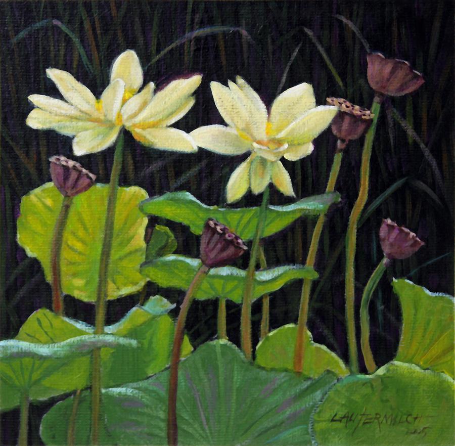 Lotus Painting - Touching Lotus Blooms by John Lautermilch