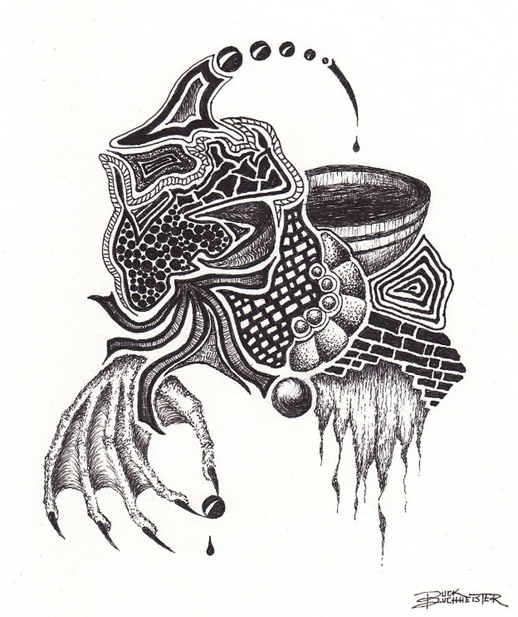 Zentangle Drawing - Toy Box Controversy by Buck Buchheister