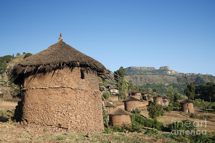 Traditional African Village Houses In Lalibela Ethiopia