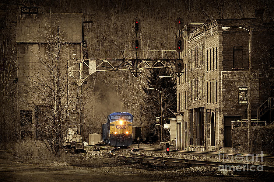 Train Photograph - Train At Thurmond Wv by Dan Friend