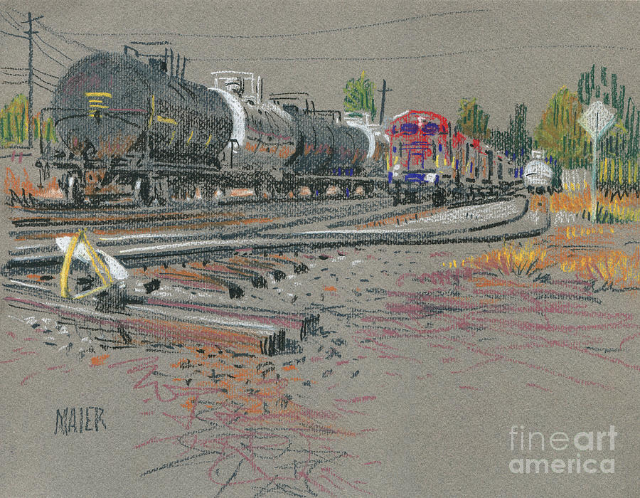 Train Drawing - Trains Coming by Donald Maier