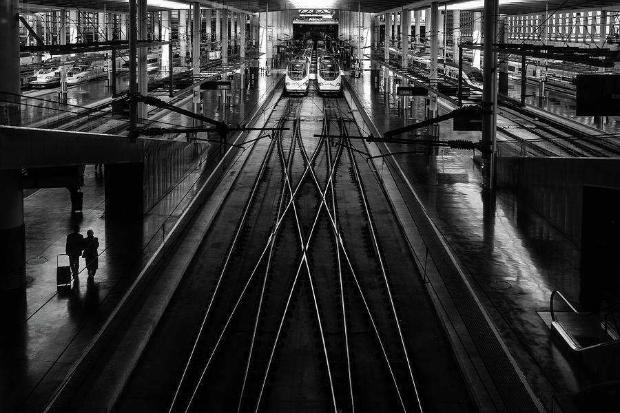 Bw Photograph - Train Station by Anderson Miranda