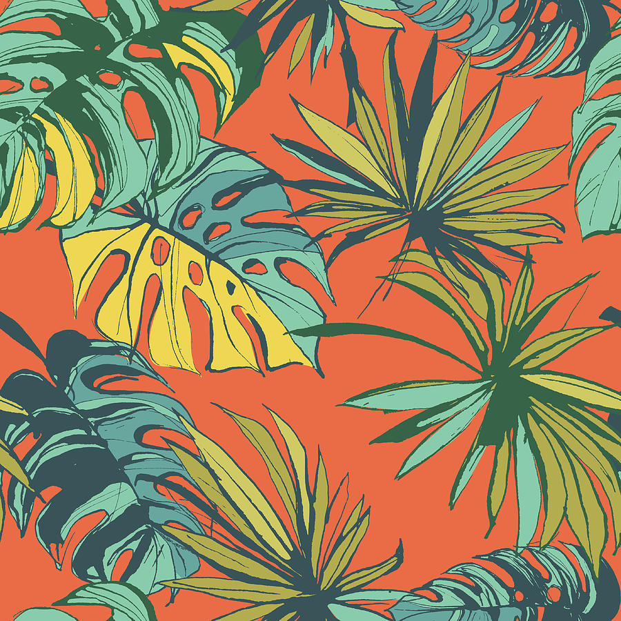 Tropical Jungle Floral Seamless Pattern Digital Art by Sv sunny