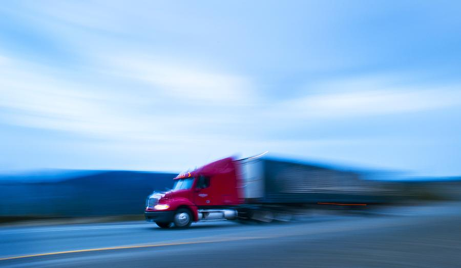 Truck Photograph - Truck On Motorway by Science Photo Library