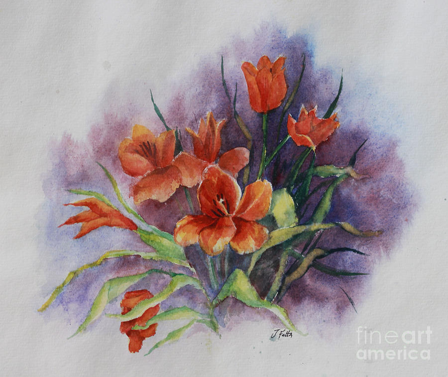 Floral Painting - Tulips by Janet Felts