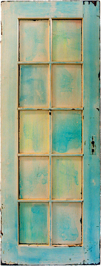 Painted Door Painting - Turquoise And Pale Yellow Panel Door by Asha Carolyn Young
