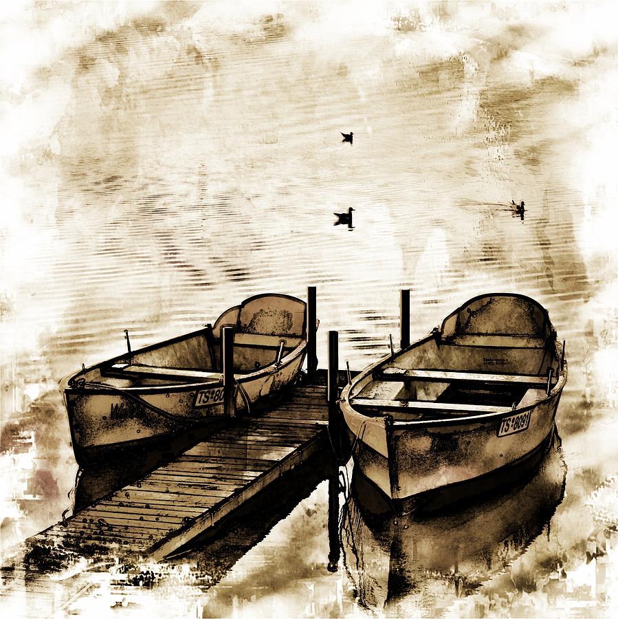 Boats Photograph - Twin Boats by Angel Eowyn