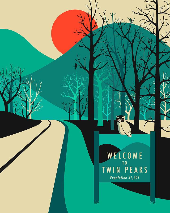 Twin Peaks Digital Art - Twin Peaks Travel Poster by Jazzberry Blue