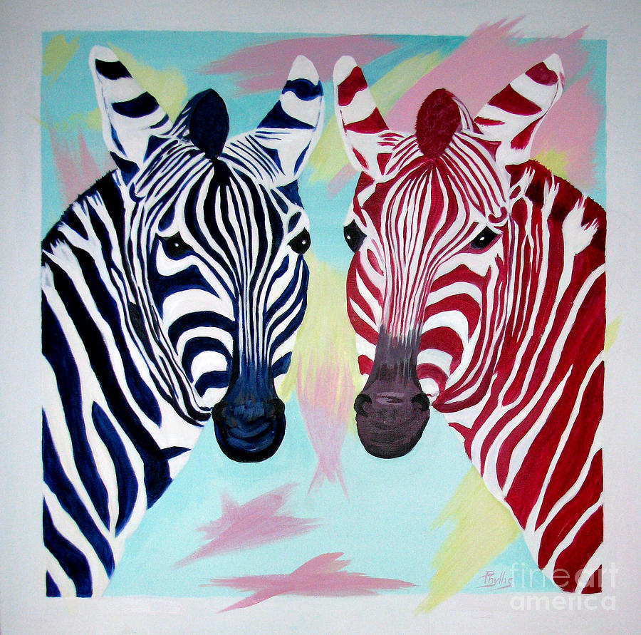 Red Zebra Painting - Twin Zs by Phyllis Kaltenbach