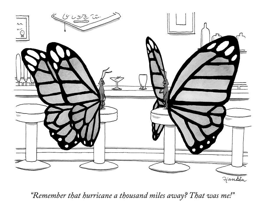 Two Butterflies Talking In A Bar Drawing by Charlie Hankin