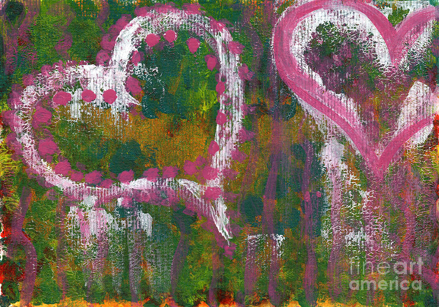 Abstract Painting - Two Hearts by Angela Bruno
