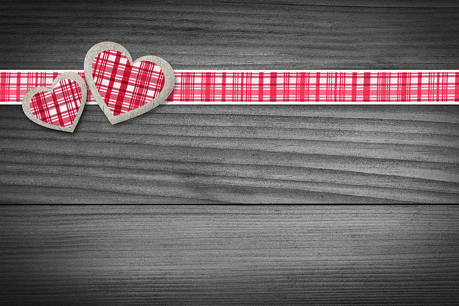 Background Photograph - Two Hearts Laying On Wood  by Aged Pixel