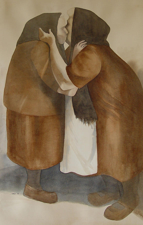 Framed Print Of Two Old Friends Painting - Two Old Friends by Sarah Buell  Dowling