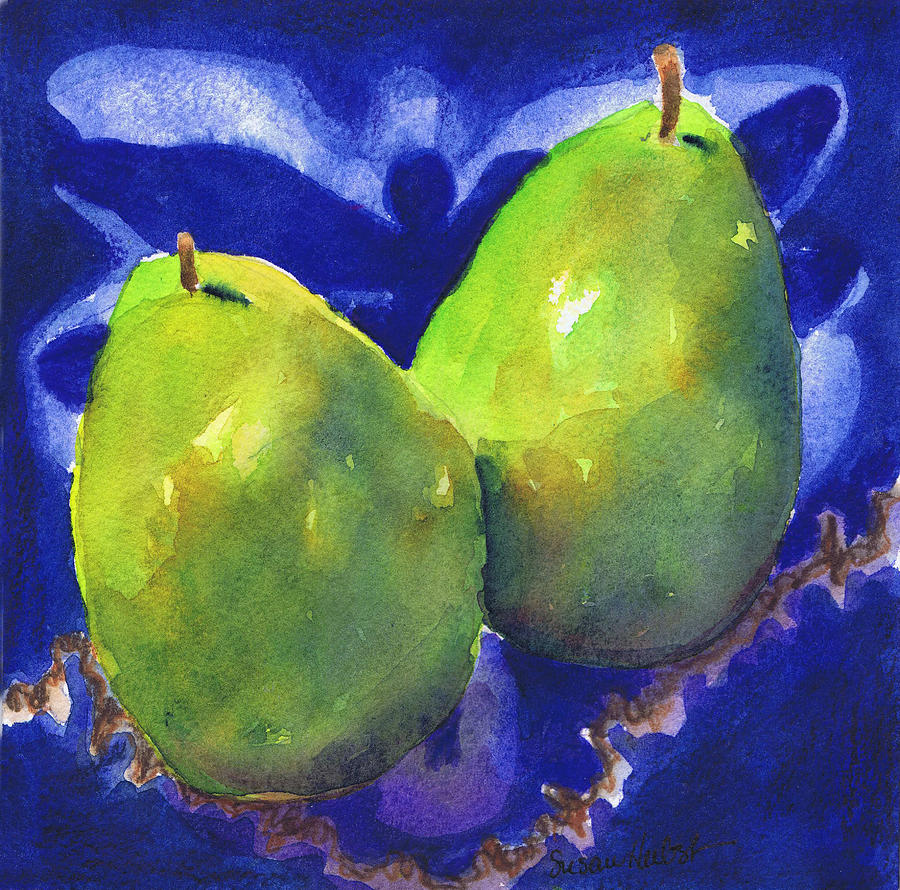 Pears Painting - Two Pears On Blue Tile by Susan Herbst