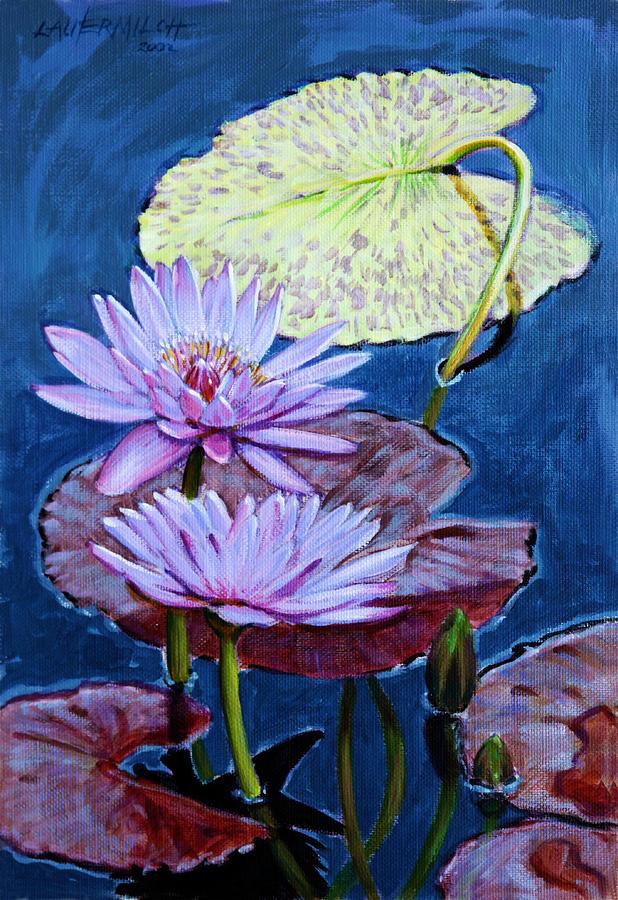 Water Lilies Painting - Two Purple Lilies by John Lautermilch