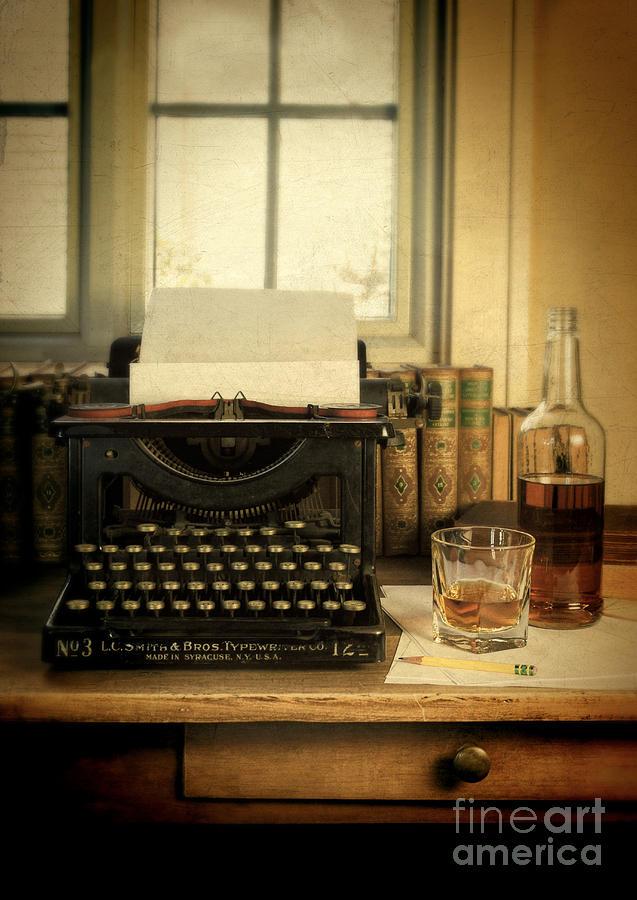 Antique Typewriter Photograph - Typewriter And Whiskey by Jill Battaglia