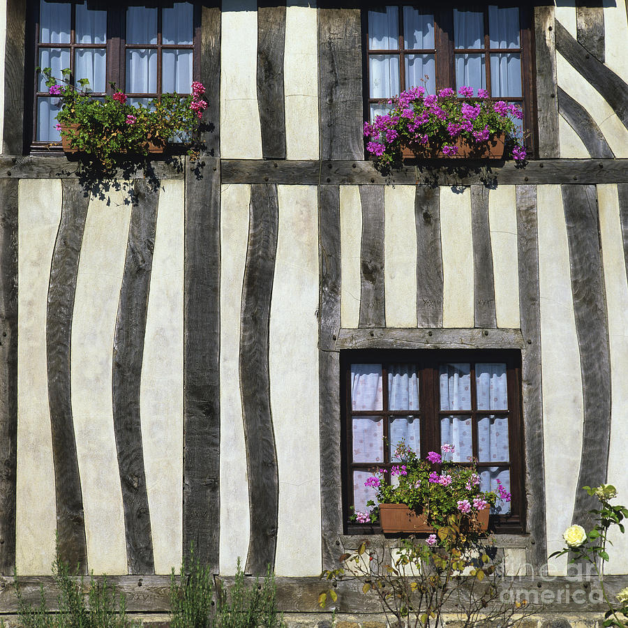Typical House  Half-timbered In Normandy. France. Europe Photograph by Bernard Jaubert